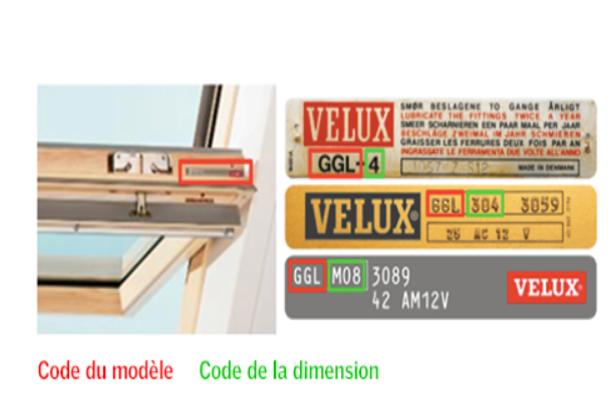 Ouvrez votre fenêtre de toit et cherchez la plaquette d'identification. Le code à trois lettres désigne le type de fenêtre et les chiffres qui suivent constituent le code de dimensions.